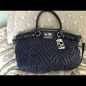 Coach quilted bag navy blue